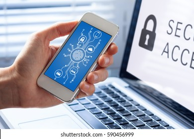 Mobile phone cyber security concept with a person showing smartphone screen, cybersecurity diagram and icons with microchip shape and fingerprint biometrics