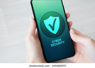 Mobile phone cyber security information privacy and data protection internet technology and business concept.