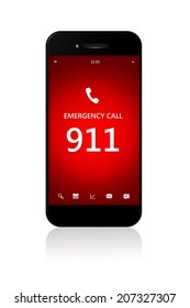 mobile phone with emergency number 911 isolated over white background