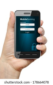Mobile phone in female hand with mobile banking app