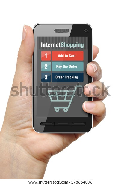 Mobile phone in female hand with internet shop app