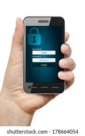 Mobile phone in female hand protected with password