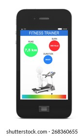 Mobile Phone with Fitness Tracker Application on a white background