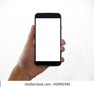 Mobile phone in hand, with copy space on screen, isolated on white