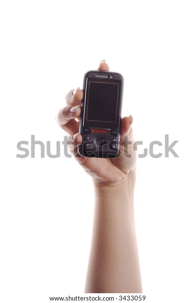 mobile phone in hand isolated on white
