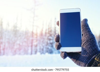mobile phone in hand on the winter forest background