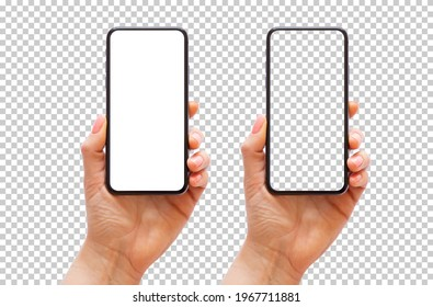 Mobile phone in hand, transparent background pattern