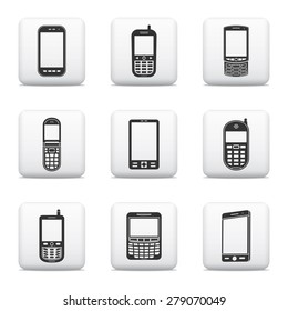 Mobile phone icons, web buttons