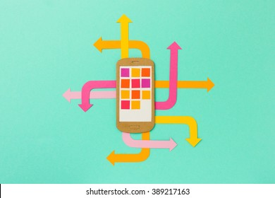 Mobile phone illustration with arrows  - bright paper illustration infographic for mobile marketing, social media, mobile apps development