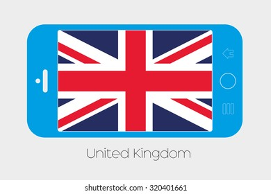 Mobile Phone Illustration with the Flag of United Kingdom