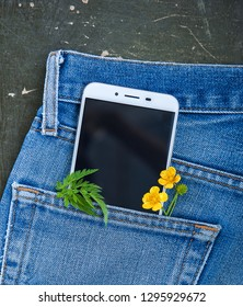 Mobile phone in jeans pocket with plants on the old wooden background. Mockup for design