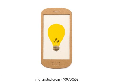 Mobile phone with light bulb symbol - image concept for e-learning, online classes, research tools