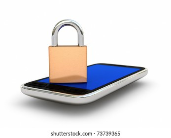 Mobile phone and lock isolated on white background. Security concept. High quality 3D render.