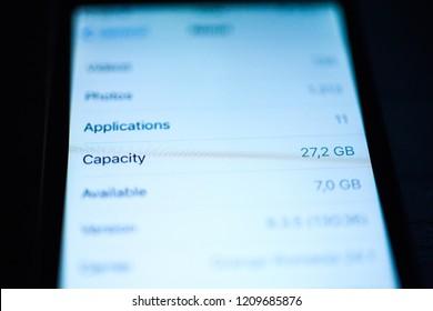 Mobile phone memory capacity
