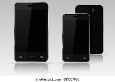 Mobile phone mockup. Black smartphone. 3d illustration. Raster version