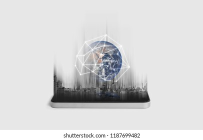 Mobile phone network, communication and global networking technology. Element of this image are furnished by NASA
