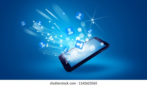 Mobile phone, on a blue neon background, magic bokeh spark, extra reality