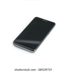 Mobile phone on white background, angled view