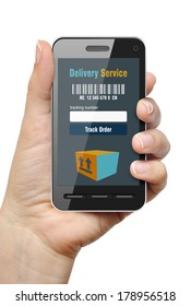 Mobile phone with Order Tracking app in female hand