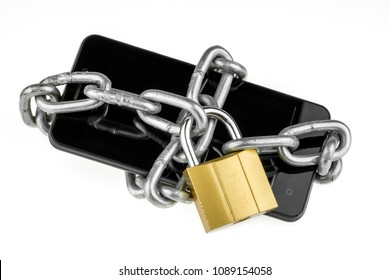 Mobile phone is password protected. The smartphone is wrapped around with the metal chain and locked, isolated on a white background