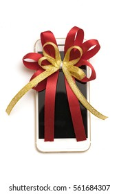 mobile phone with  red and gold ribbon