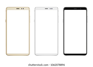 Mobile phone with round edges in three colors. Isoalted screen and background for mockup; app and design presentation.