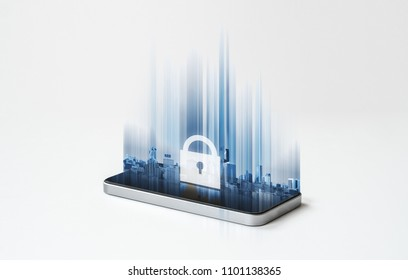 Mobile phone security system, mobile smart phone and futuristic lock icon on screen