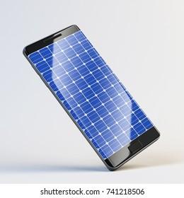 Mobile phone as solar panel 3d rendering