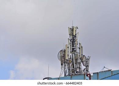 Mobile phone Telecommunication Radio antenna on building.