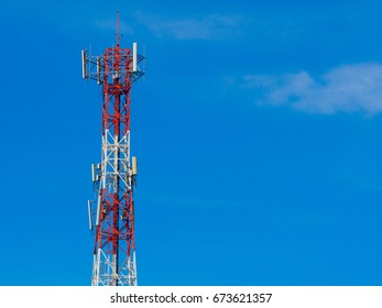 Mobile phone Telecommunication Radio antenna Tower. Cell phone tower with blue sky