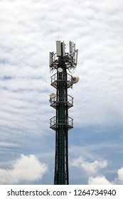 Mobile phone tower against blue cloudy sky