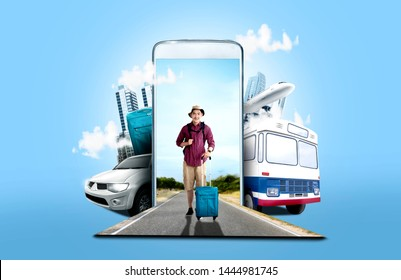 Mobile phone with transportation and buildings on blue background. From the phone comes asian man in hat with suitcase bag and backpack standing on the street. Traveling concept