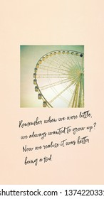 Mobile phone wallpapers design, inspiration with quote and ferris wheel in pastel style, grain and noise texture