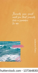 Mobile phone wallpapers design, summer inspiration with quote and sea beach in colorful style, grain and noise texture