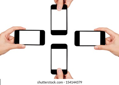 Mobile phone, white background.