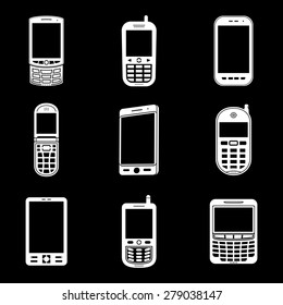 Mobile phone white icons