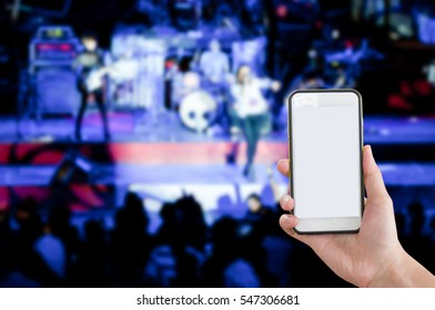 Mobile Phone white screen background Pretty on stage.