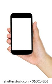 mobile phone in a woman's hand isolated