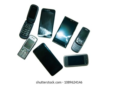 mobile phones of different models on white background