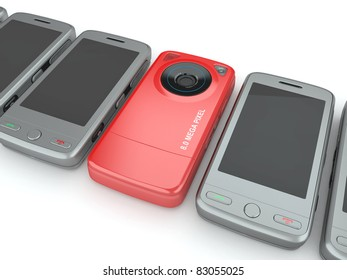 Mobile phones on white isolated background. 3d