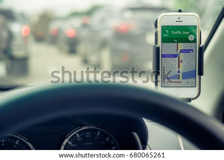 Mobile Phones Show Traffic Jam Map Stock Photo Edit Now 680065261