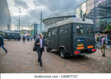 Mobile Police Van Around The Johan Cruijff Arena At Amsterdam The Netherlands 2018