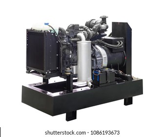 Mobile, portable mobile diesel or gasoline generator with a radiator, black, with remote control.