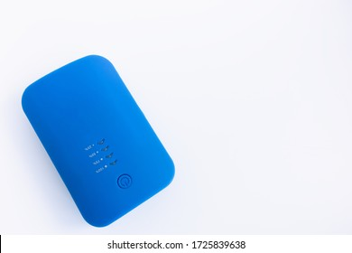 Mobile Power bank in blue on a white background.