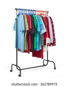 Mobile rack with clothes on white background. File contains a path to isolation.