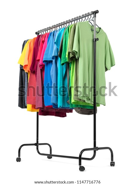 Mobile rack with color clothes isolated on white background.