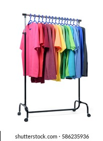 Mobile rack with color clothes on white background.