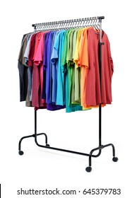 Mobile rack with color clothes on white background. File contains a path to isolation.