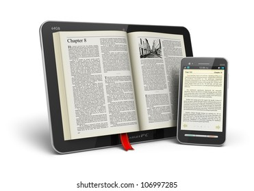 Mobile reading and literature library concept: book with text in tablet computer and touchscreen smartphone isolated on white background