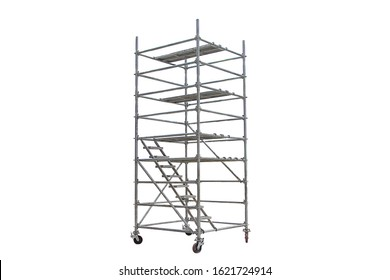 Mobile scaffolding, white background, used in construction areas.